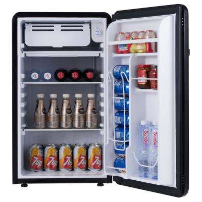 3.2 cu. ft. Retro Compact Mini Fridge with Freezer Interior Shelves Handle in Black