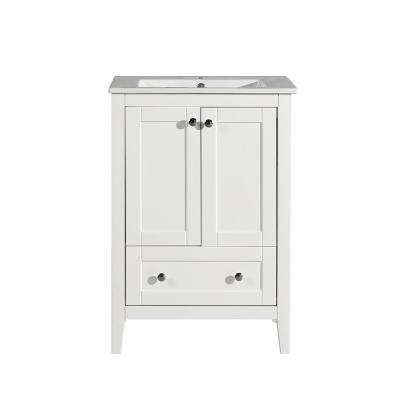 Cannes 24 in. Single, 2 Doors, 1 Drawer, Bathroom Vanity in White with White Countertop with White Basin