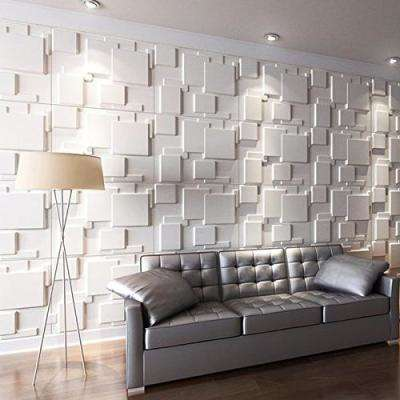 19.7 in. x 19.7 in. x 0.06 in. White PVC 3D Wall Panels Brick Wall Design (12-Pack)
