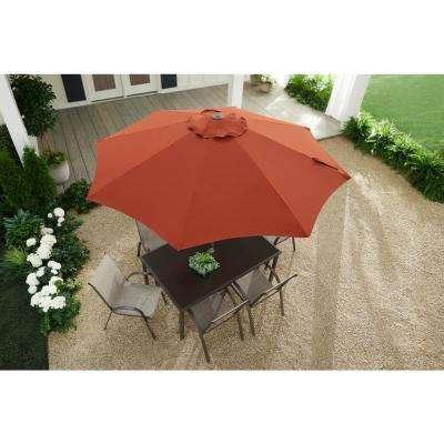 9 ft. Riverbrook Steel Espresso Brown Market Crank and Tilt Outdoor Patio Umbrella in Chili Red