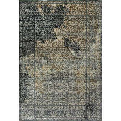 Royal Treasure Soft Blue/Mocha 7 ft. 10 in. x 10 ft. 10 in. Indoor Area Rug