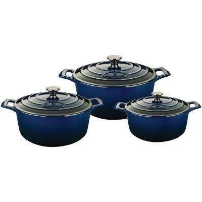 PRO Cast Iron Round Casserole Set with Enamel Finish in Blue (6-Piece)