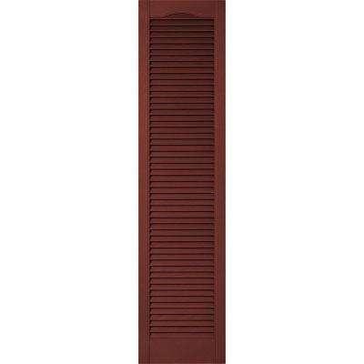 14-1/2 in. x 41 in. Lifetime Vinyl Custom Cathedral Top All Open Louvered Shutters Pair Burgundy Red