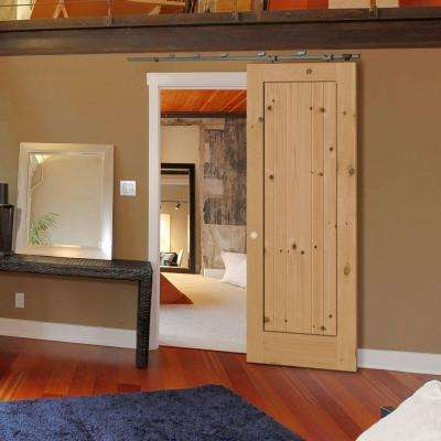 40 in. x 84 in. Knotty Alder 1 Panel Shaker V-Groove Solid Wood Interior Barn Door Slab