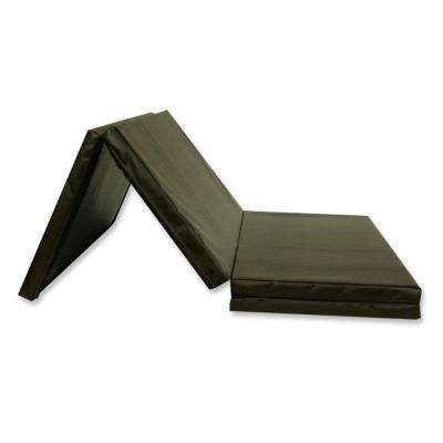 Folding Black 4 ft. x 8 ft. x 2 in. 18 oz. Vinyl and Foam Gymnastics Mat