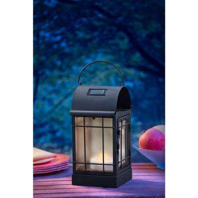 Arched 1-Light Black Outdoor Integrated LED Wall Mount Lantern with Solar Powered Candle