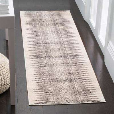 Evoke Ivory/Gray 2 ft. x 11 ft. Runner Rug