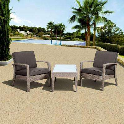 Florida Deluxe 3 Piece All Weather Wicker Patio Conversation Set With Gray  Cushion