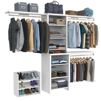 Impressions Premium 60 in. W - 120 in. W White Wood Closet System