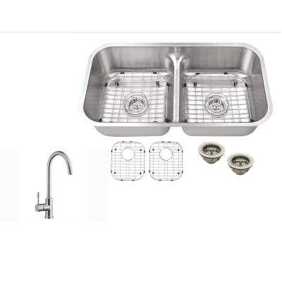 Undermount 32-1/2 in. 18 Gauge Stainless Steel Kitchen Sink in Brushed Stainless with Gooseneck Kitchen Faucet