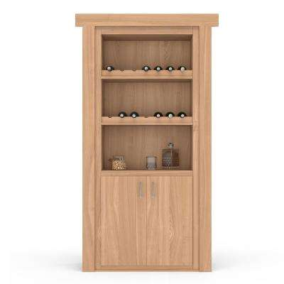 36 in. x 80 in. Flush Mount Assembled Cherry Unfinished Right-Hand Outswing Wine Rack Door