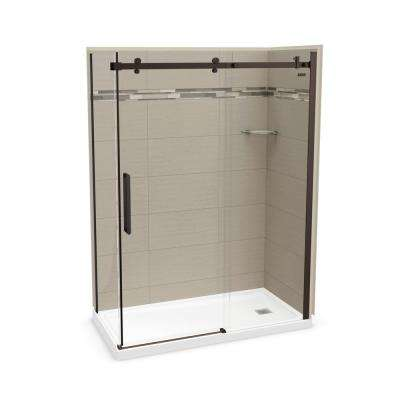 32 in. x 60 in. x 83.5 in. Direct-to-Stud Right Corner Shower Kit in Origin Greige with Dark Bronze Door