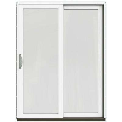 59-1/4 in. x 79-1/2 in. W-2500 Dark Chocolate Right-Hand Clad-Wood Sliding Patio Door with Brilliant White Interior
