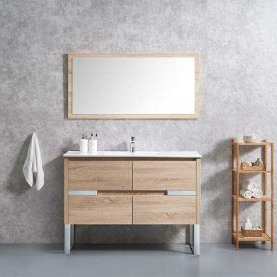 Lennard 48 in. W x 18 in. D Vanity in Natural Wood with Ceramic Vanity Top in White with White Sink