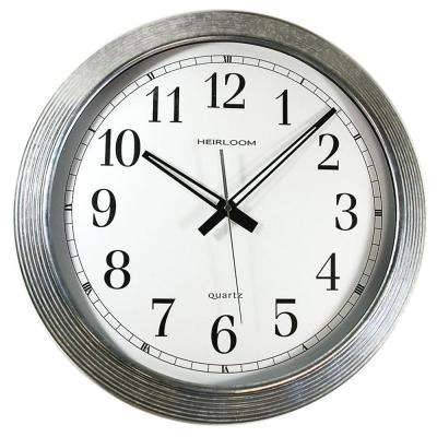 16 in. Round Galvanized Metal Rim Wall Clock