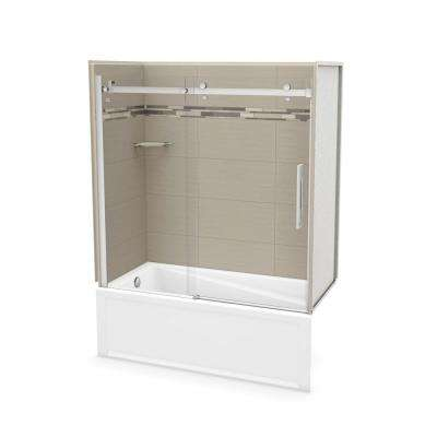 30 in. x 59.75 in. x 81.375 in. Direct-to-Stud Tub Wall Kit with Left End Tub in Origin Greige with Chrome Door