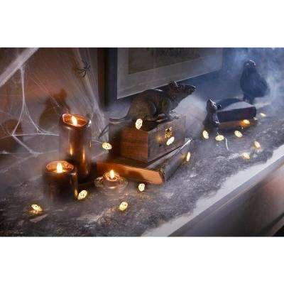 6 ft. 18 Warm White LED Halloween Skull Lights with Timer
