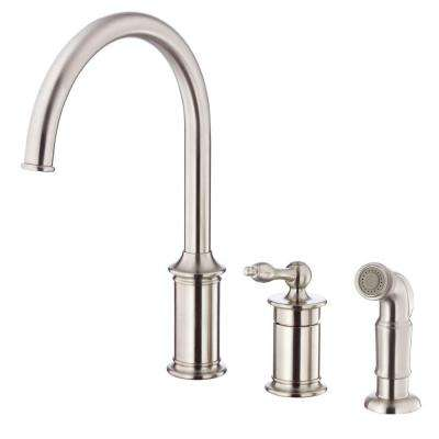 Prince Single-Handle Standard Kitchen Faucet with Spray in Stainless Steel