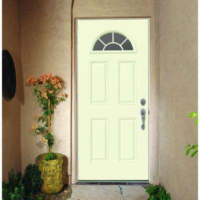30 in. x 80 in. Fan Lite Vanilla Painted Steel Prehung Right-Hand Outswing Front Door w/Brickmould