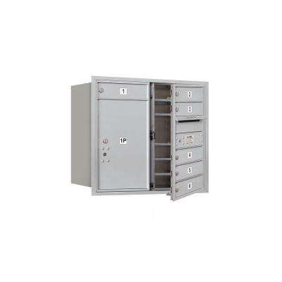 3700 Series 27 in. 7 Door High Unit Aluminum USPS Front Loading 4C Horizontal Mailbox with 6 MB1 Doors/1 PL6