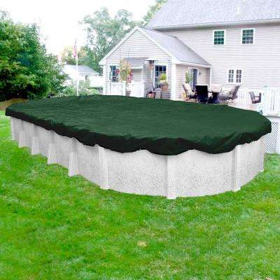 Heavy-Duty Oval Grass Green Winter Pool Cover