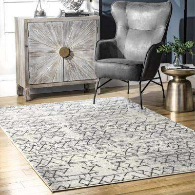 Bexley Distressed Banded Tribal Beige 5 ft. x 8 ft. Area Rug