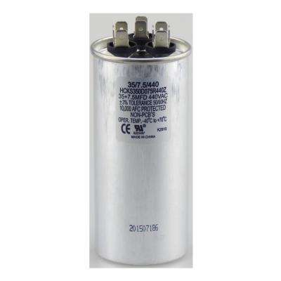 440-Volt 35/7.5 MFD Dual Rated Motor Run Round Capacitor