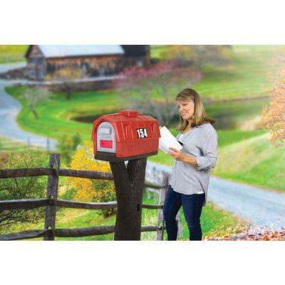 Rustic Barn Burnt Red / Espresso Post Mount  Mailbox
