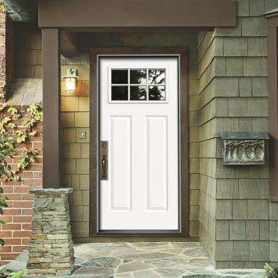 30 in. x 80 in. 6 Lite Craftsman Primed Steel Prehung Right-Hand Inswing Front Door w/Brickmould