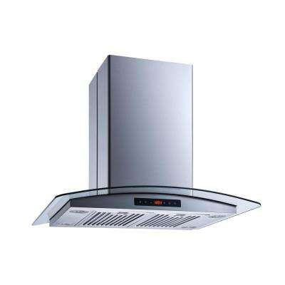 30 in. Convertible Island Mount Range Hood in Stainless Steel and Glass with Touch Control, Baffle and Carbon Filters