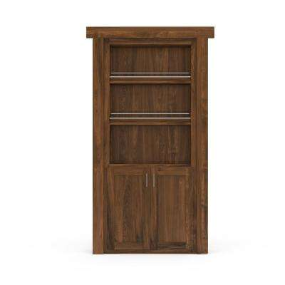36 in. x 80 in. Flush Mount Assembled Forward Pantry Door Hickory Medium Stained Left-Hand Inswing