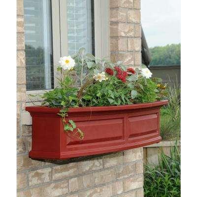 Self-Watering Nantucket 10 in. x 48 in. Red Polyethylene Window Box