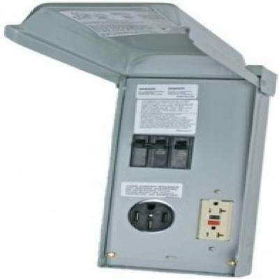 70 Amp 2-Space 2-Circuit 240 Volt Unmetered RV Outlet Box with 50 Amp and 20 Amp GCFI Circuit Protected Receptacles