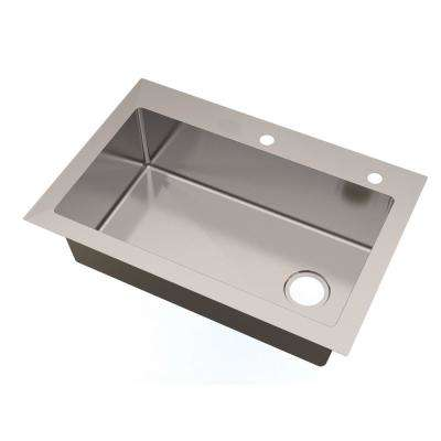 All-in-One Dual Mount Small Radius Stainless Steel 33 in. 2-Hole Single Basin with Faucet Kitchen Sink in Brushed Finish