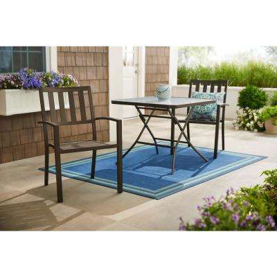 Mix and Match Dark Taupe Stackable Steel Slat Outdoor Patio Dining Chair