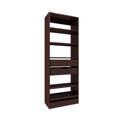 30 in. W x 15 in. D x 84 in. H Wood Pantry Organizer with Slide-outs in Mocha