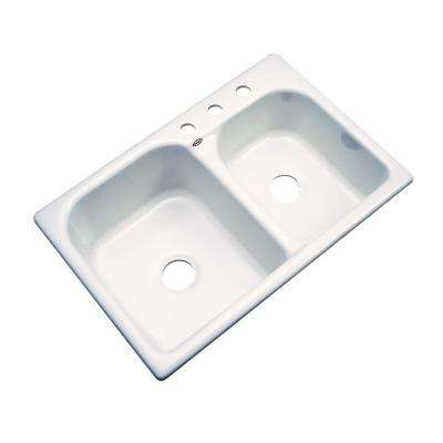 Cambridge Drop-In Acrylic 33 in. 3-Hole Double Bowl Kitchen Sink in Biscuit