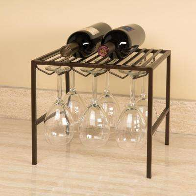 12.5 in. x 12 in. x 11 in. Bronze Wine Glass Rack with Shelf