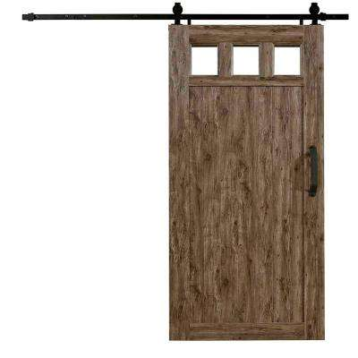 42 in. x 84 in. Millbrooke Weathered Grey 3 Lite Acrylic Pane PVC Vinyl Barn Door with Sliding Door Hardware Kit