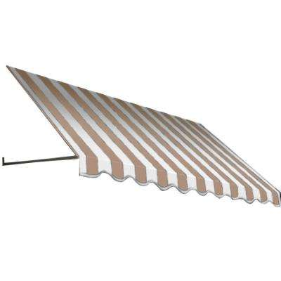 18 ft. Dallas Retro Window/Entry Awning (56 in. H x 36 in. D) in Linen/White Stripe