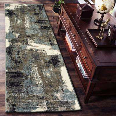 Matrix Walnut/Silver Blue Rectangle 2 ft. 1 in. x 7 ft. 5 in. Indoor Runner Rug