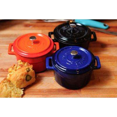 Signature 12 oz. Enameled Cast Iron Round Mini Dutch Oven in Obsidian Black