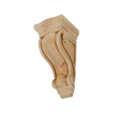 4-3/4 in. x 2-7/8 in. x 2-5/8 in. Unfinished X-Small North American Solid Alder Classic Traditional Plain Wood Corbel