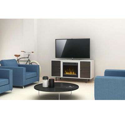 Ridgeville 47.38 in. Two-Tone Media Console Electric Fireplace in High Gloss White/Wakefield Oak