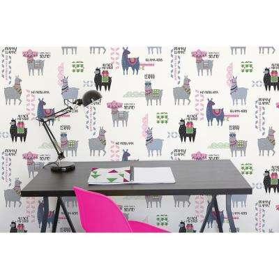 56.4 sq. ft. Quito Pink Llamas Wallpaper