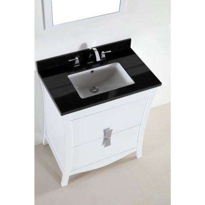 Tracy 30 in. W x 19 in. D x 34 in. H Single Vanity in White with Granite Vanity Top in Black Galaxy with White Basin