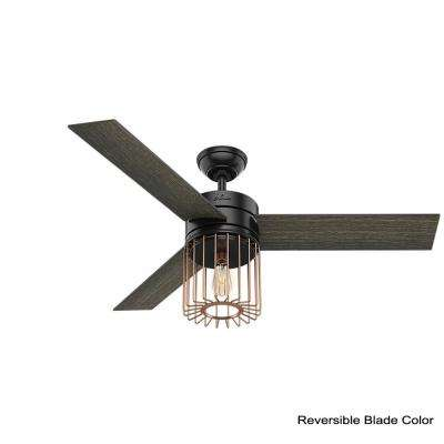 Ronan 52 in. LED Indoor Matte Black Ceiling Fan with Light