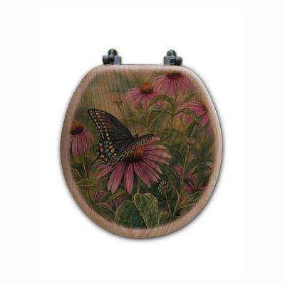 Berry Bush Songbirds Round Closed Front Wood Toilet Seat in Oak Brown