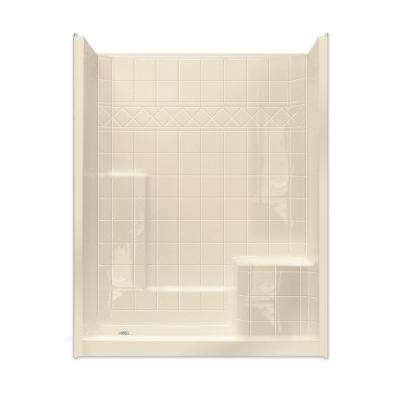 Standard 32 in. x 60 in. x 77 in. Walk-In Shower System in Bone with Low Threshold and Right Seat