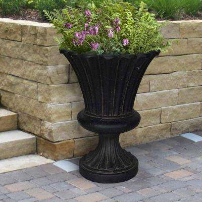 22 in. x 29-1/4 in. Cast Stone Long Leaf Urn in Aged Charcoal